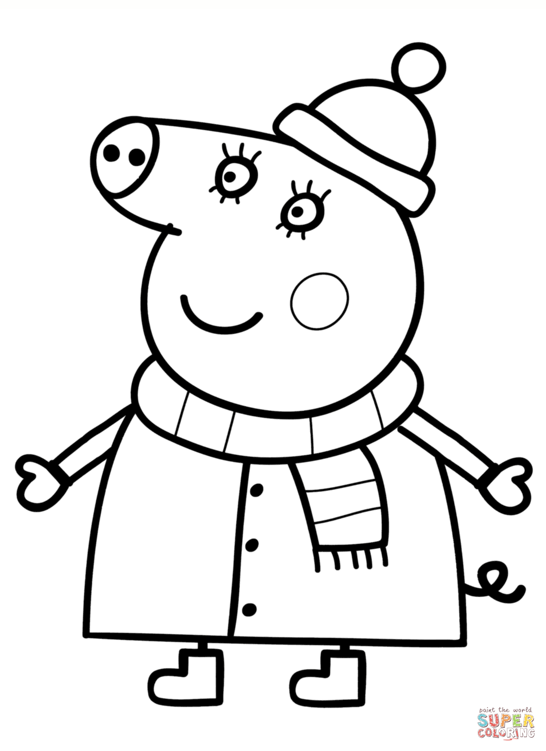 Mummy Pig In Winter Suit Coloring Page