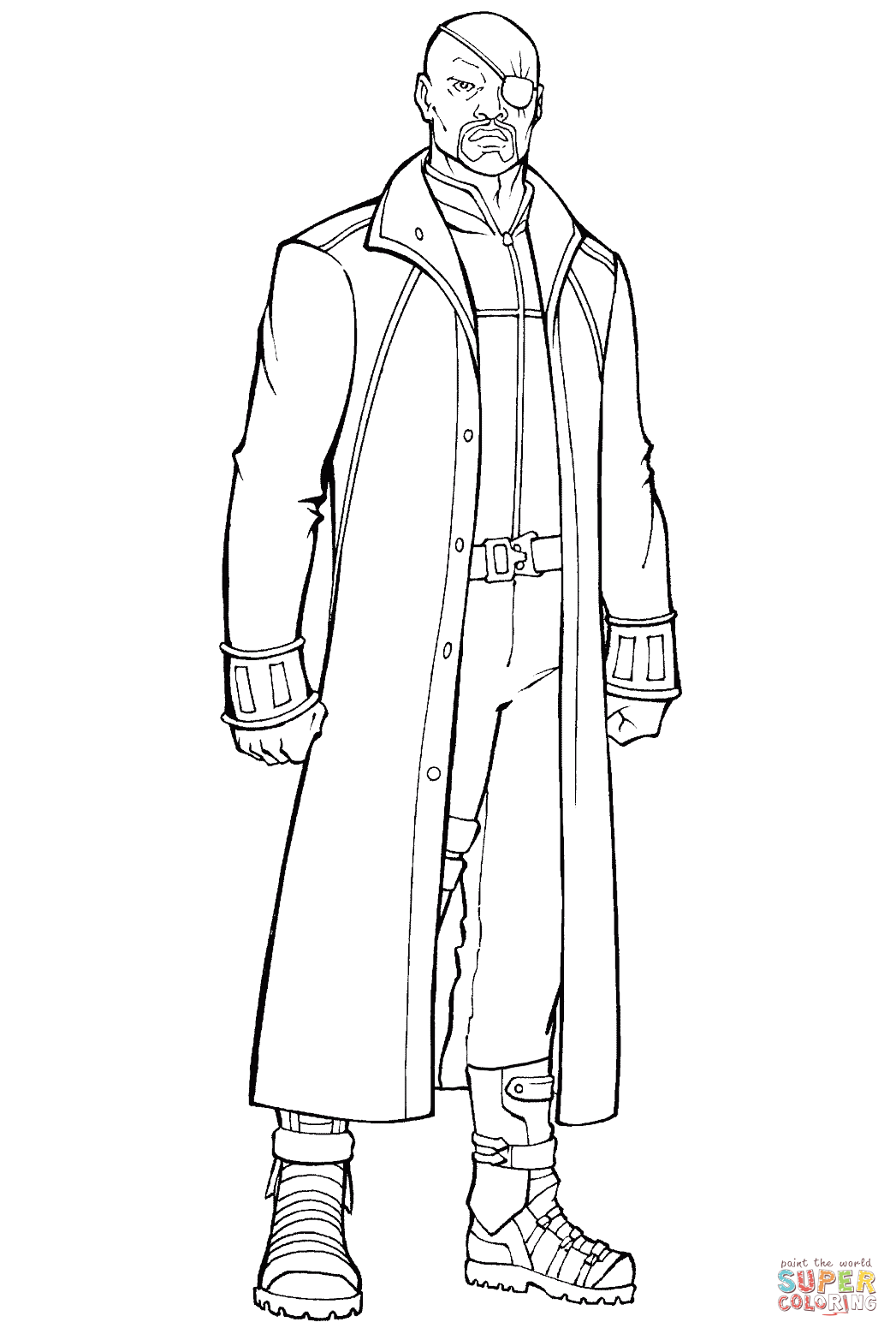 nick fury director of the s h i e d agency coloring page