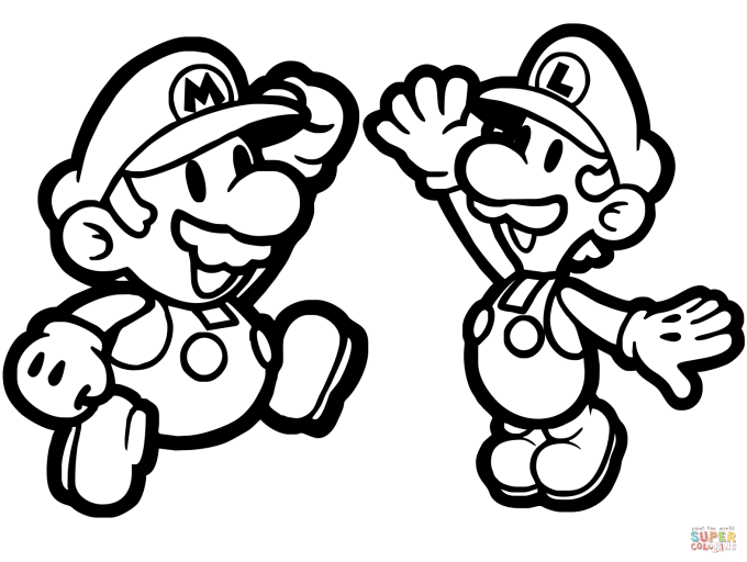 Paper Mario And Luigi Coloring Page Free Printable Pages