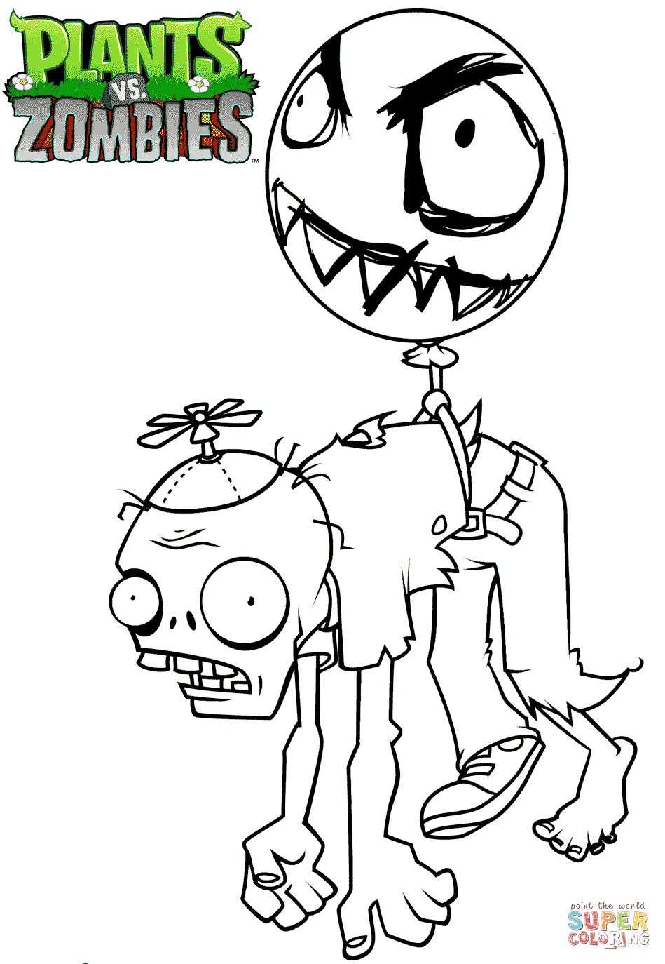 Plants Vs Zombies Balloon Zombie Coloring Page Free Printable