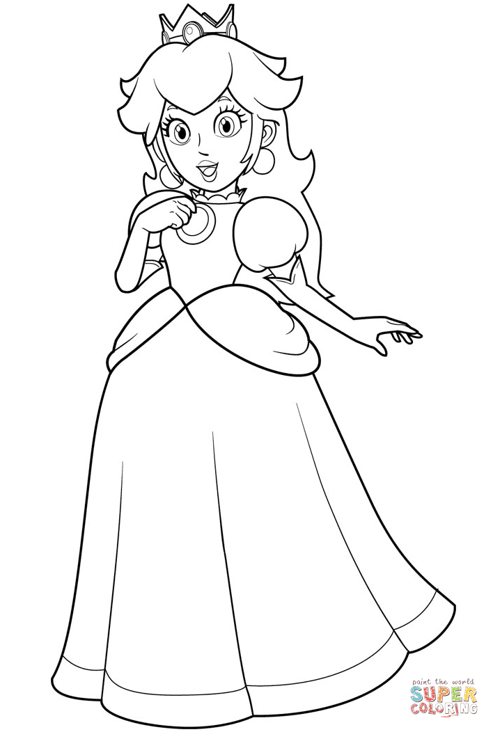 pretty princess peach coloring page free printable coloring pages
