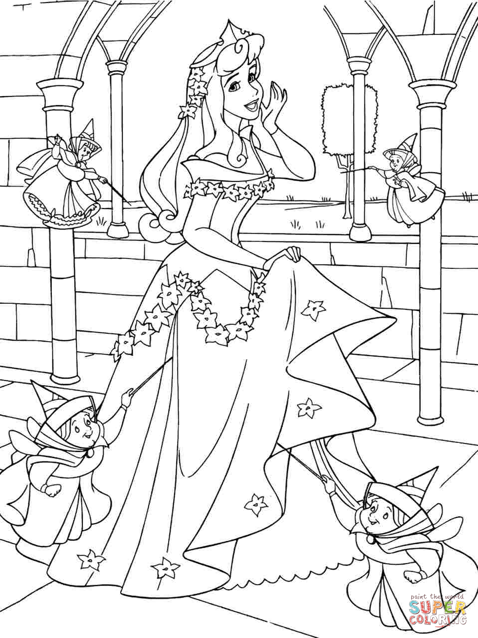 Princess Aurora With Good Fairies Coloring Page Free Printable Coloring Pages
