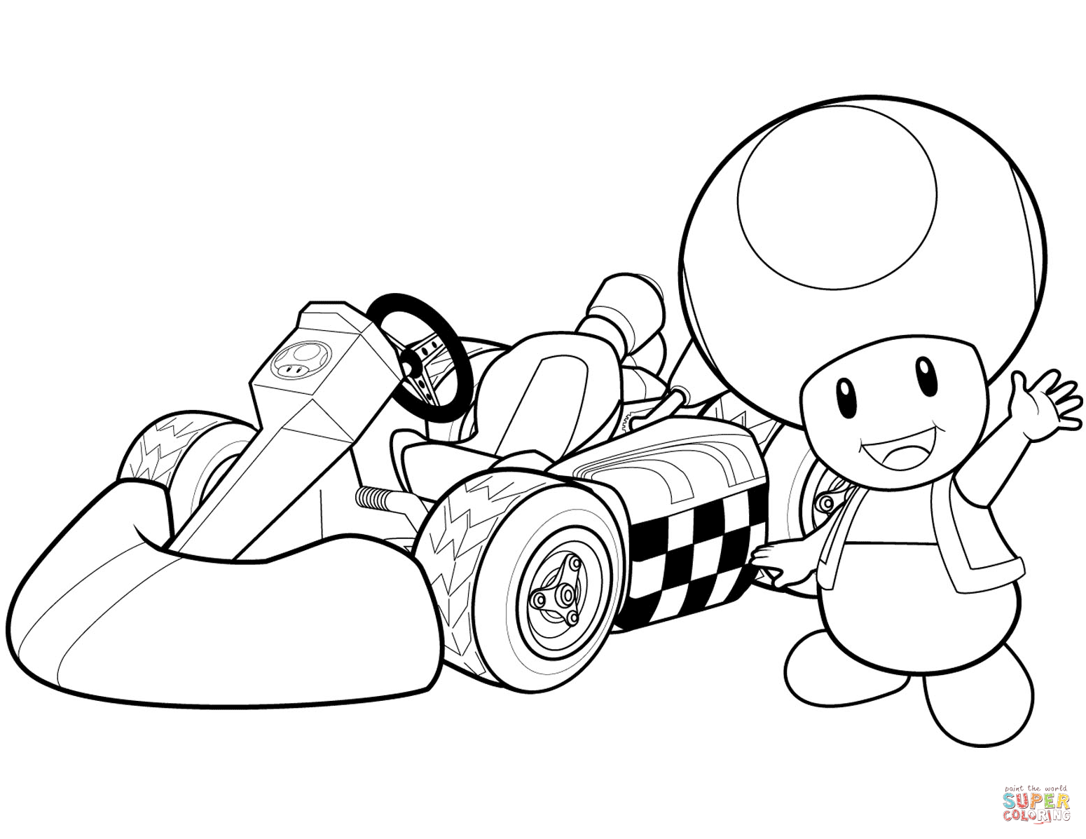 Toad In Mario Kart Wii Coloring Page
