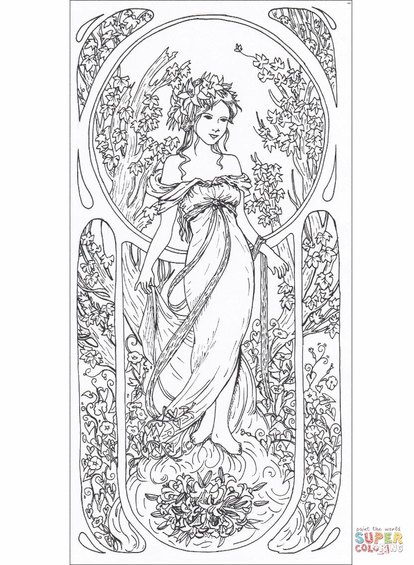 Art Nouveau Coloring Pages Free Coloring Pages