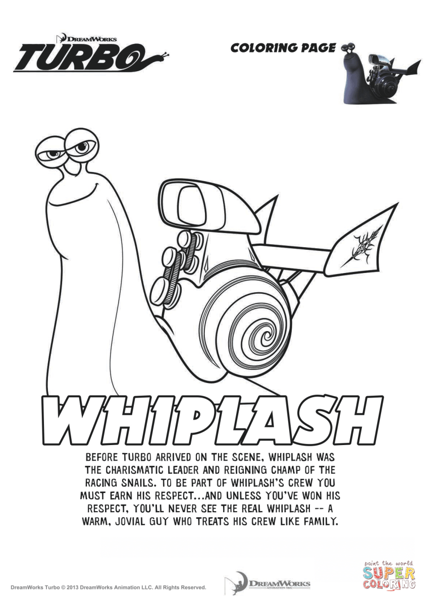 whiplash from turbo coloring page  free printable