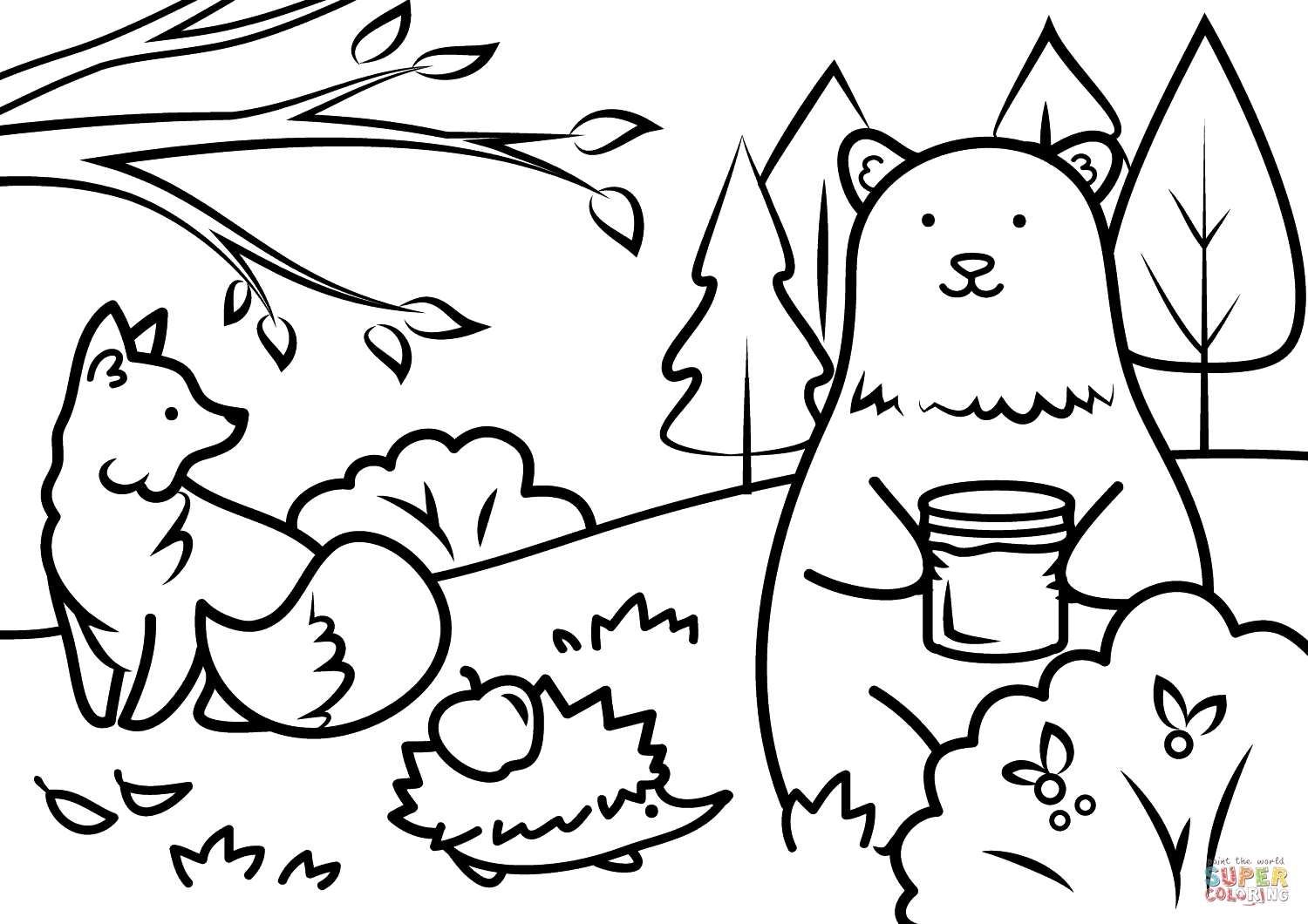 Autumn Animals Coloring Page