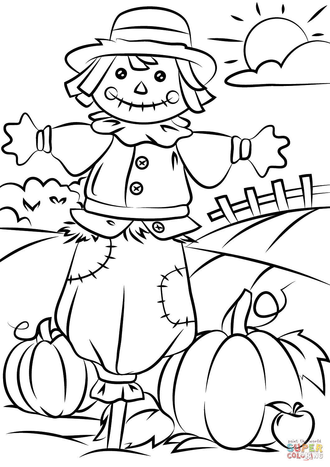 Autumn Scene With Scarecrow Coloring Page