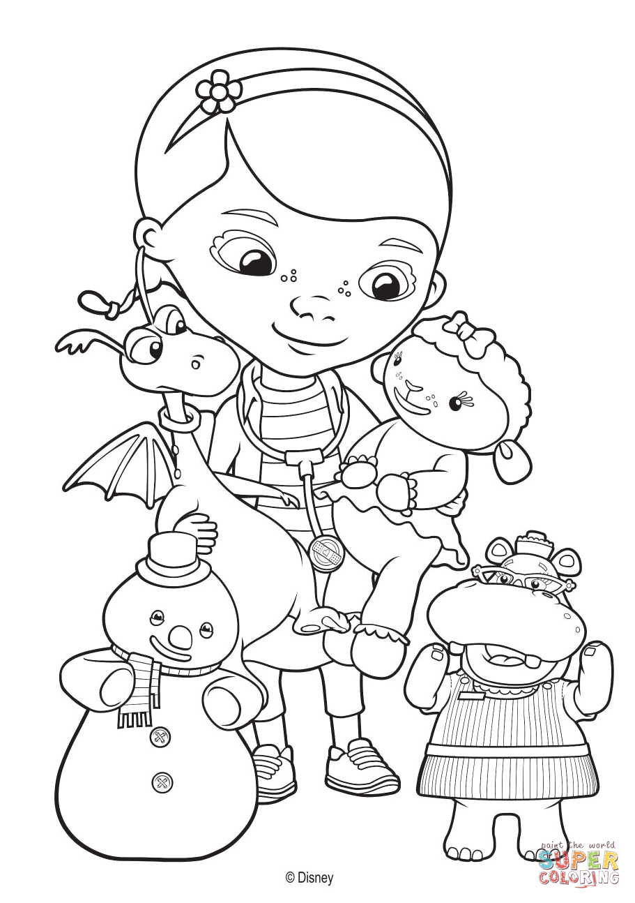 Doc McStuffins And Her Toy Friends Coloring Page Free