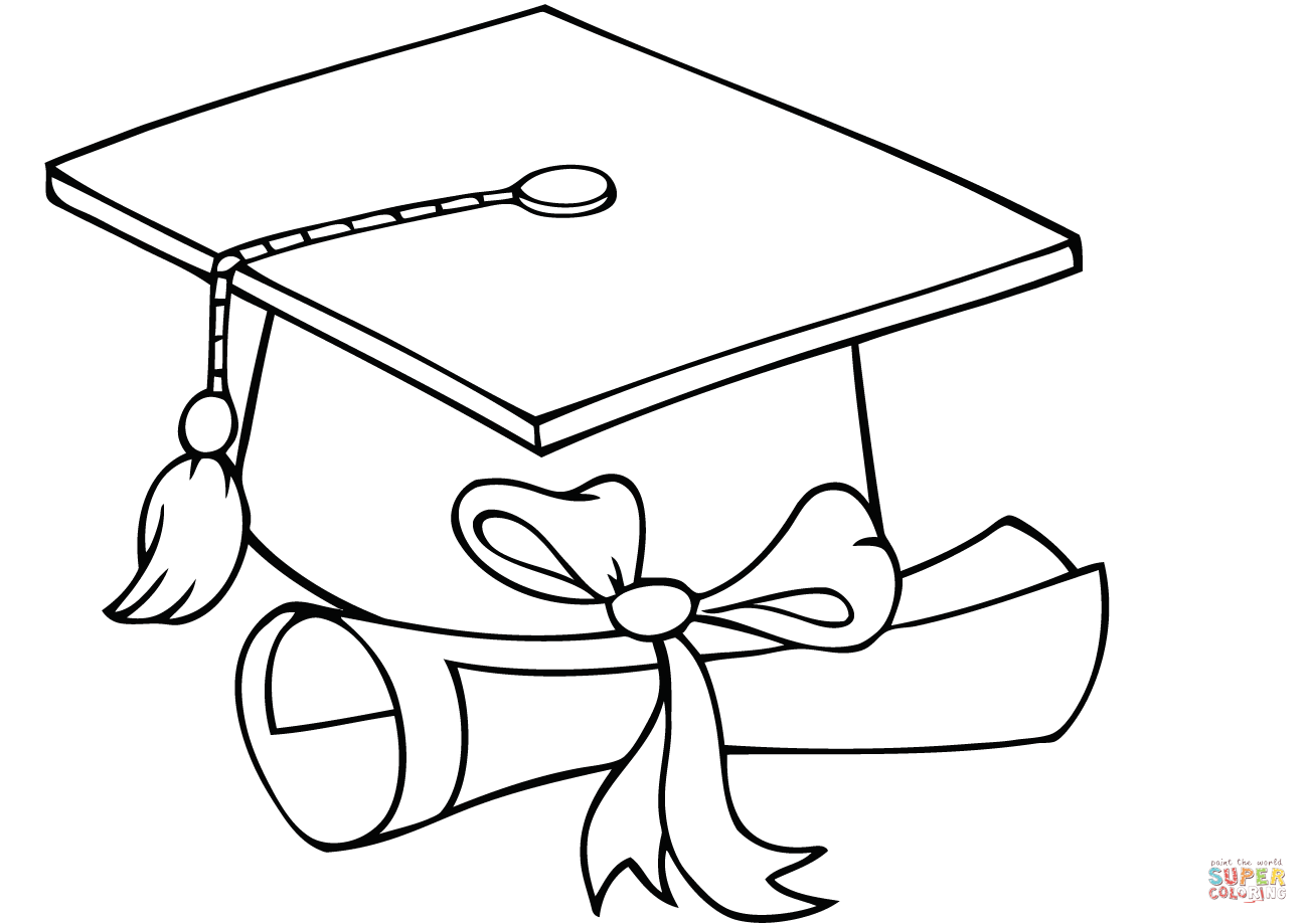 Graduate Cap With Diploma Coloring Page Free Printable Pages