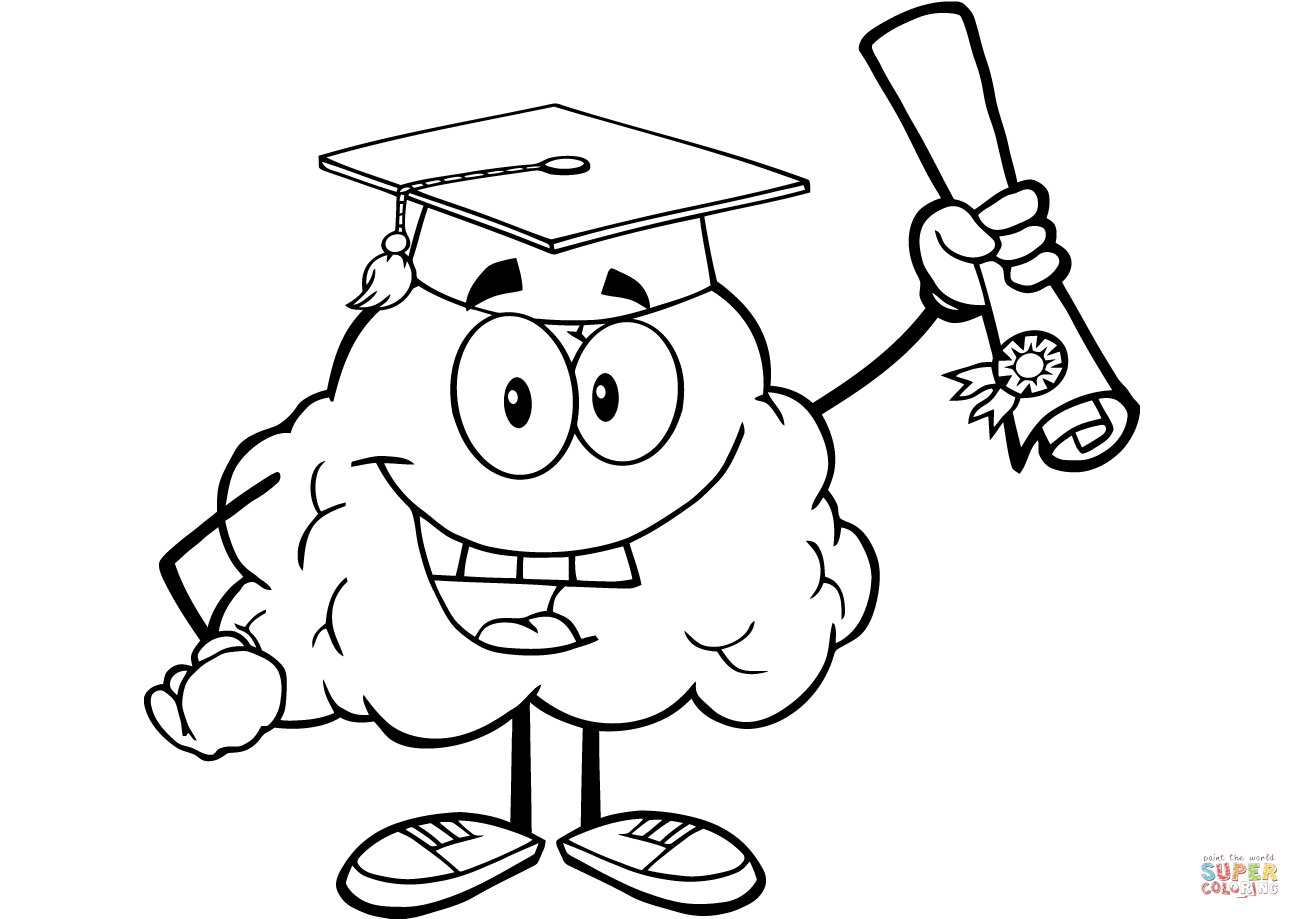 Happy Brain Character Graduate With Diploma Coloring Page