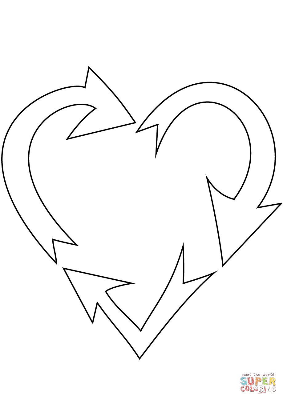 heart shaped recycling sign coloring page free printable
