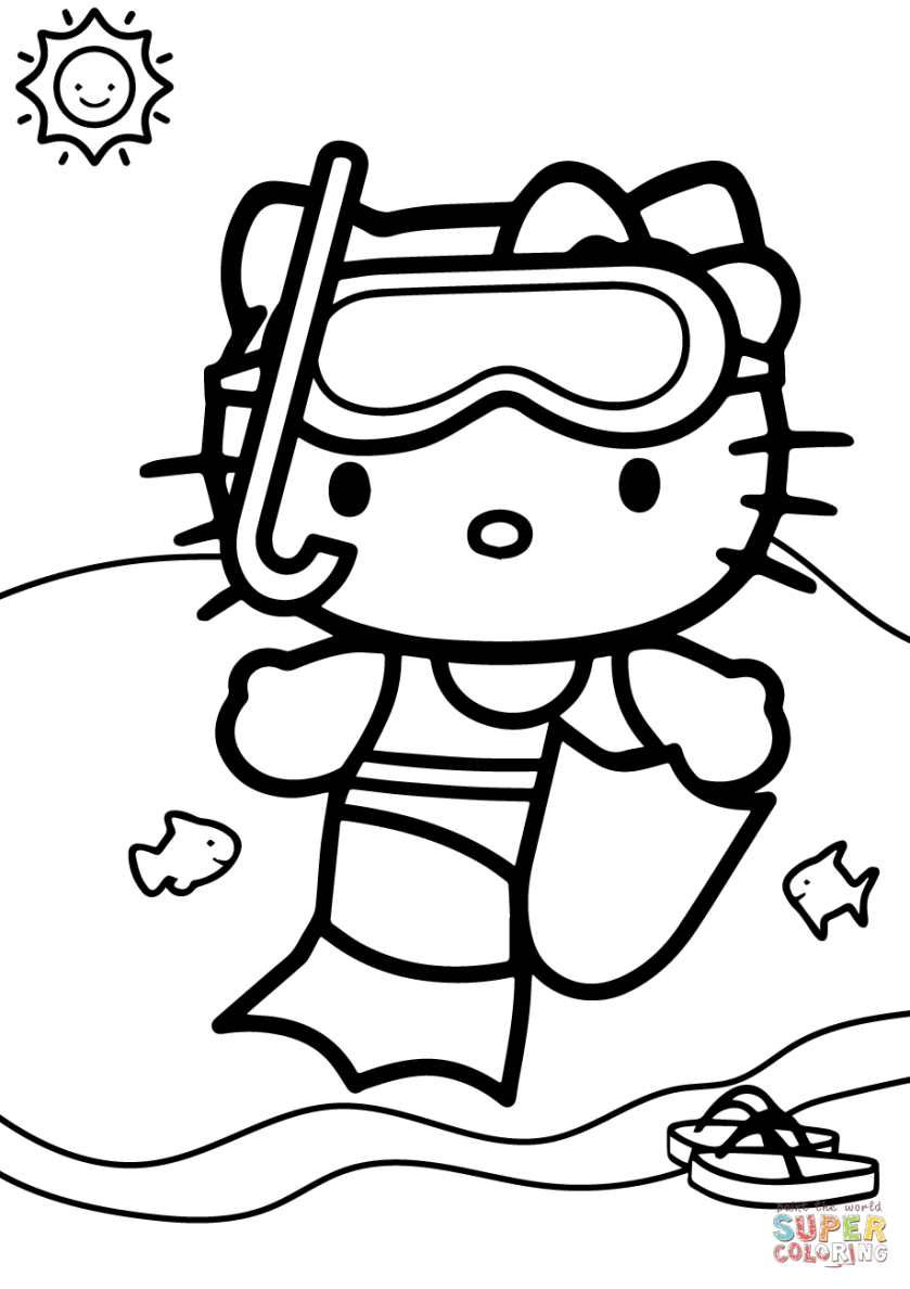 hello kitty goes swimming coloring page  free printable