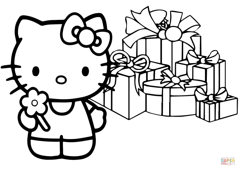 hello kitty happy christmas coloring page | free printable coloring