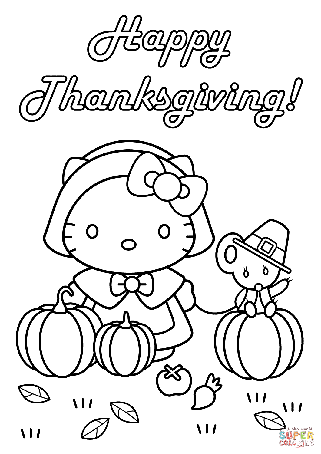 Hello Kitty Happy Thanksgiving Coloring Page