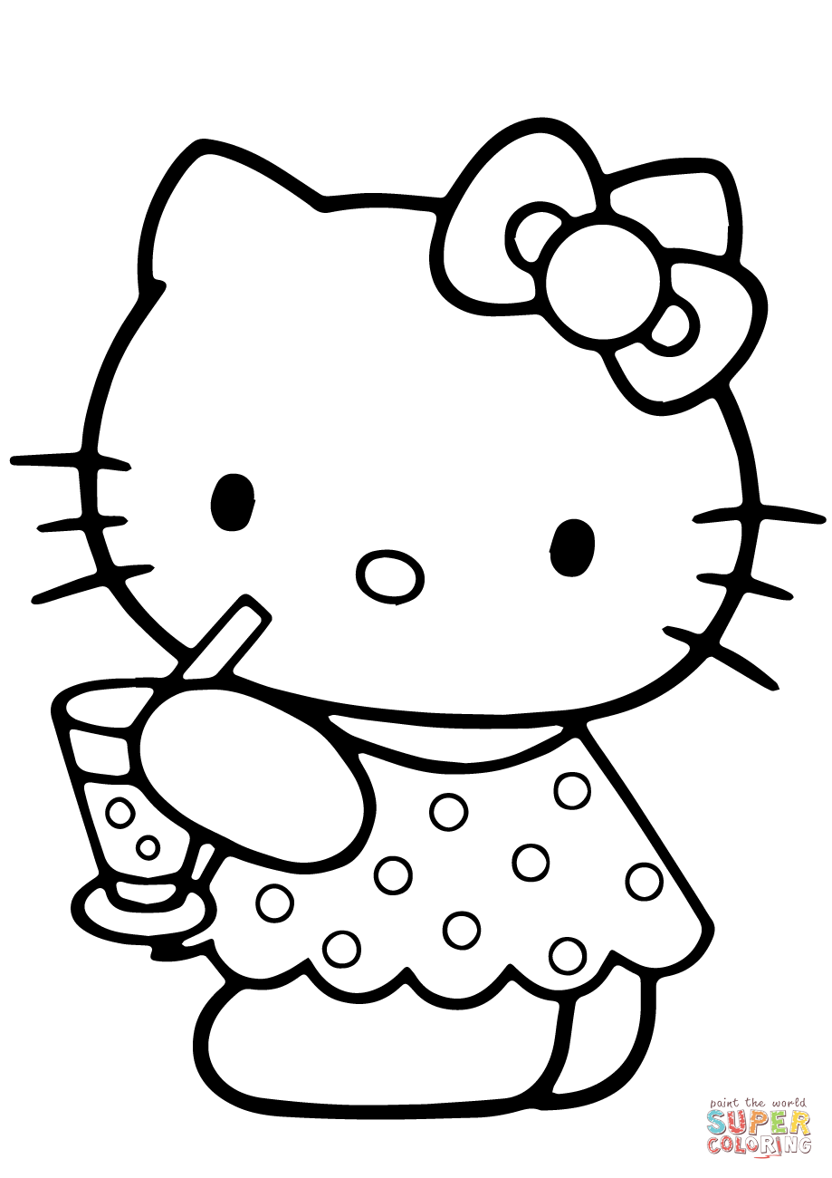 Hello Kitty Summer Coloring Page Free Printable Coloring Pages