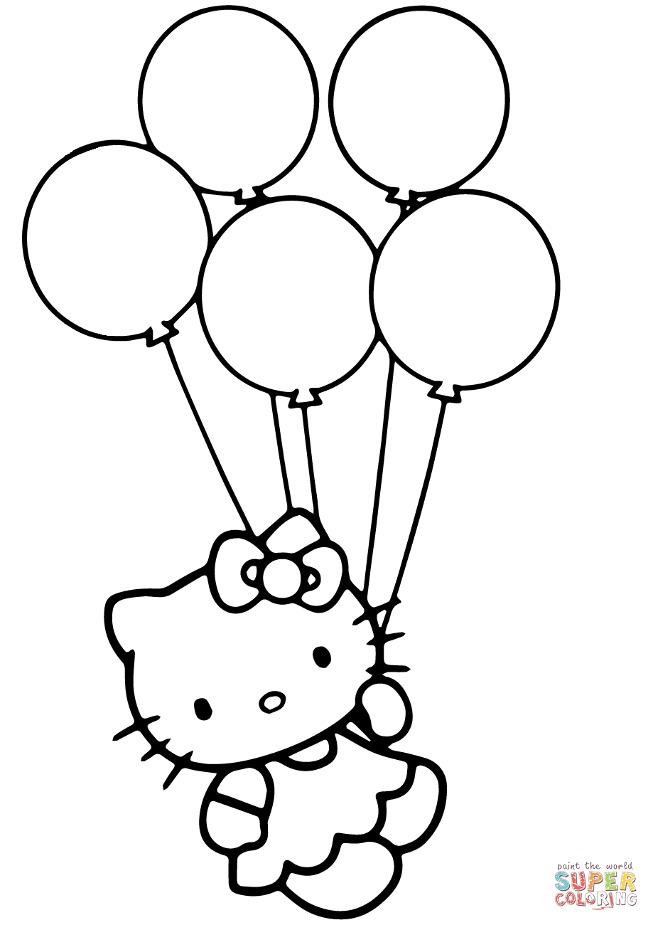 Hello Kitty With Balloons Coloring Page Free Printable Coloring