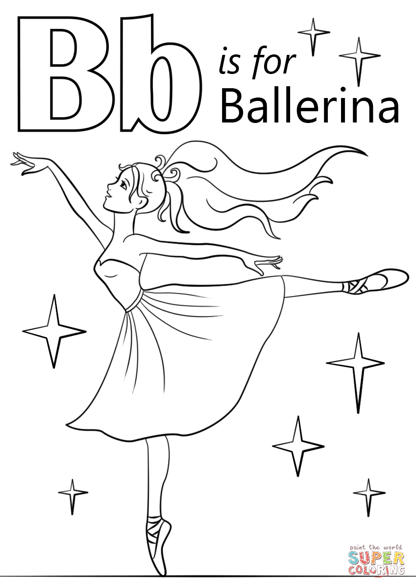 is for ballerina coloring page free printable coloring pages