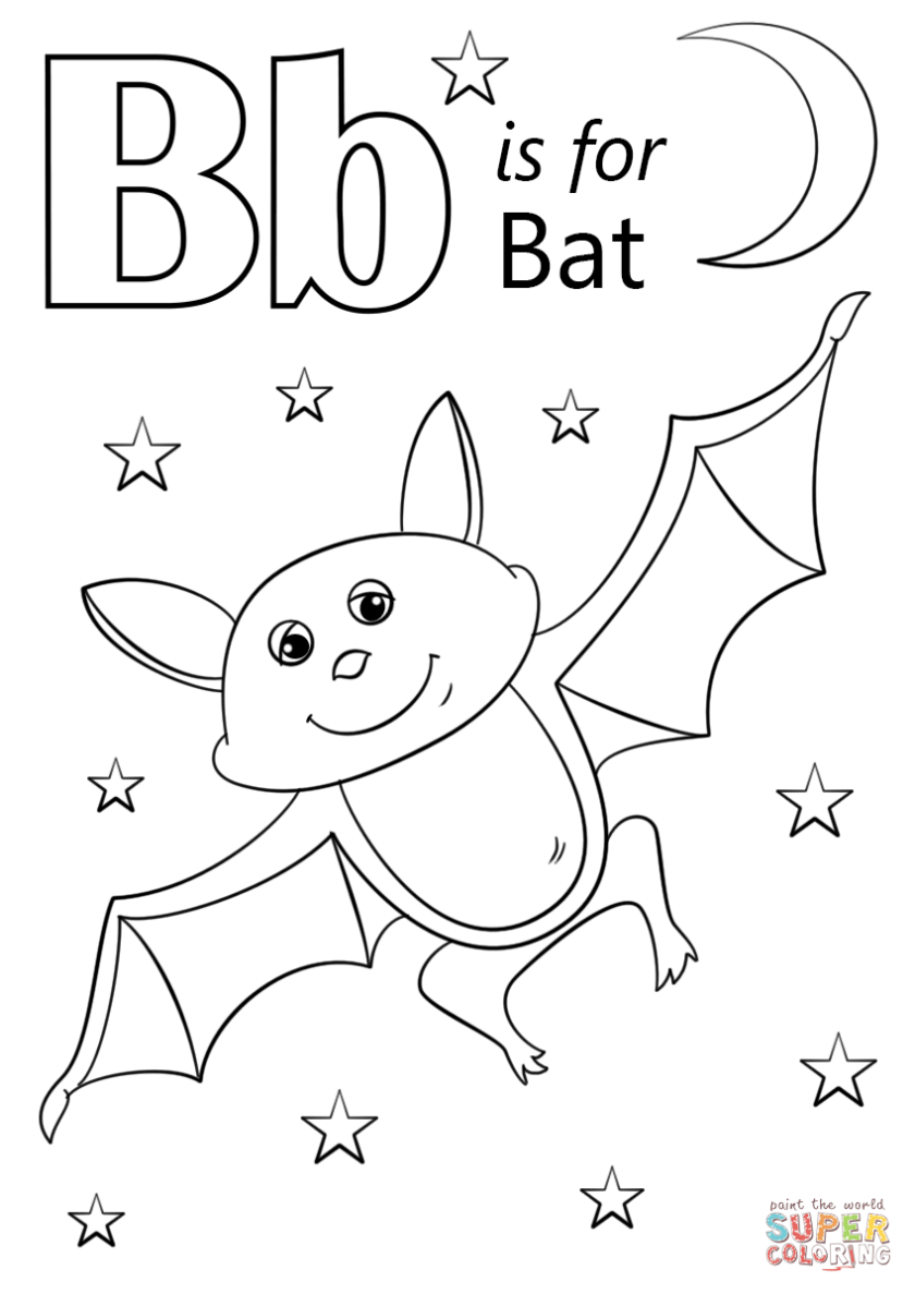 letter b is for bat coloring page  free printable