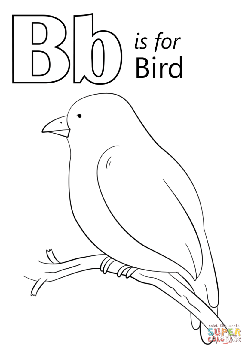 letter b is for bird coloring page | free printable coloring