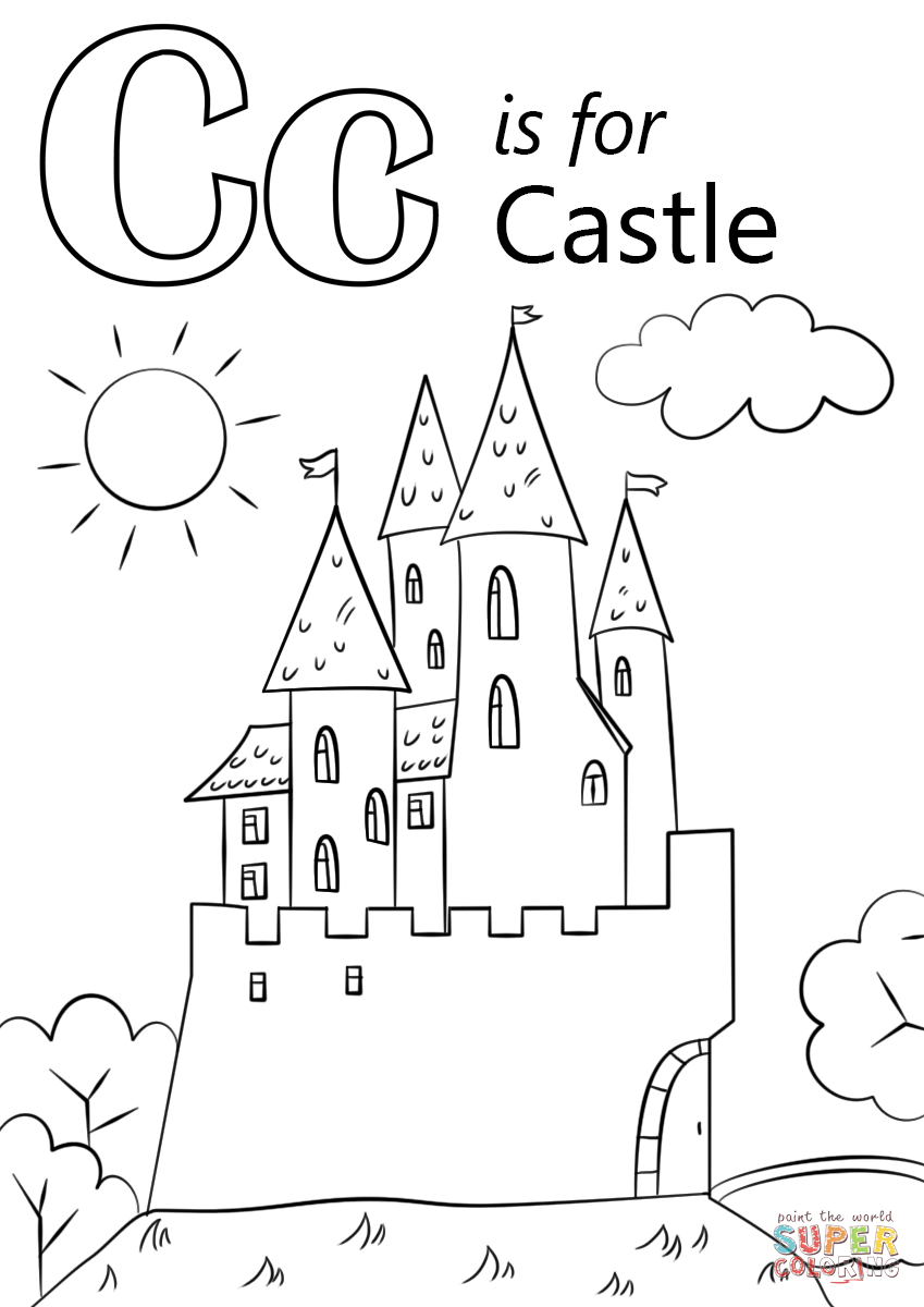 letter c is for castle coloring page free printable coloring pages