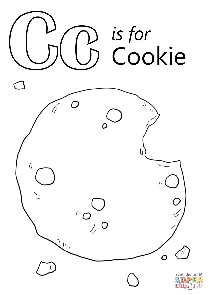 letter c is for cookie coloring page free printable coloring pages