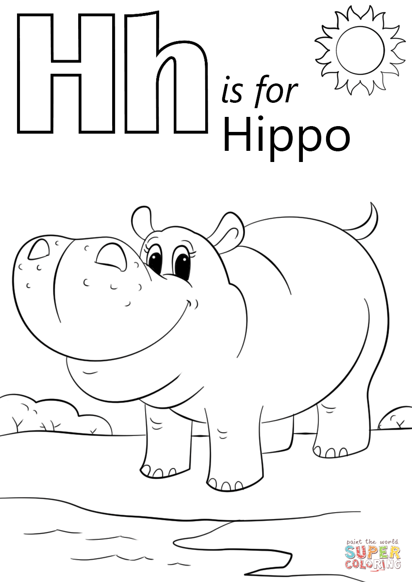 Hippopotamus hippo coloring page animals town animals color - Letter H Is For Hippopotamus Coloring Page Free Printable