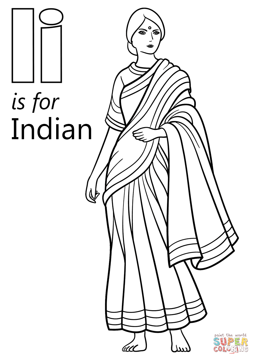 letter i is for indian coloring page free printable coloring pages