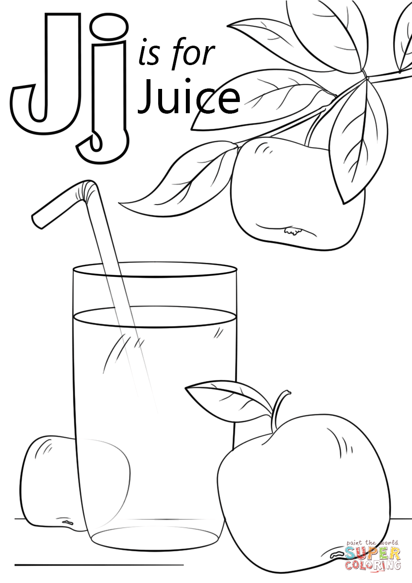 Letter J Is For Juice Coloring Page Free Printable Coloring Pages