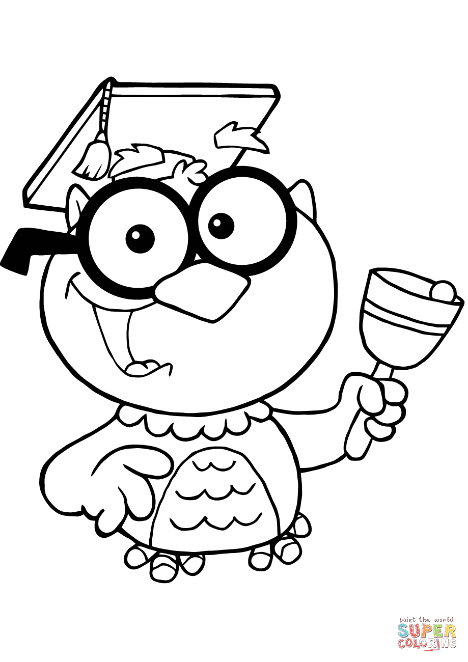 Owl Teacher With Graduate Cap And Bell Coloring Page Free