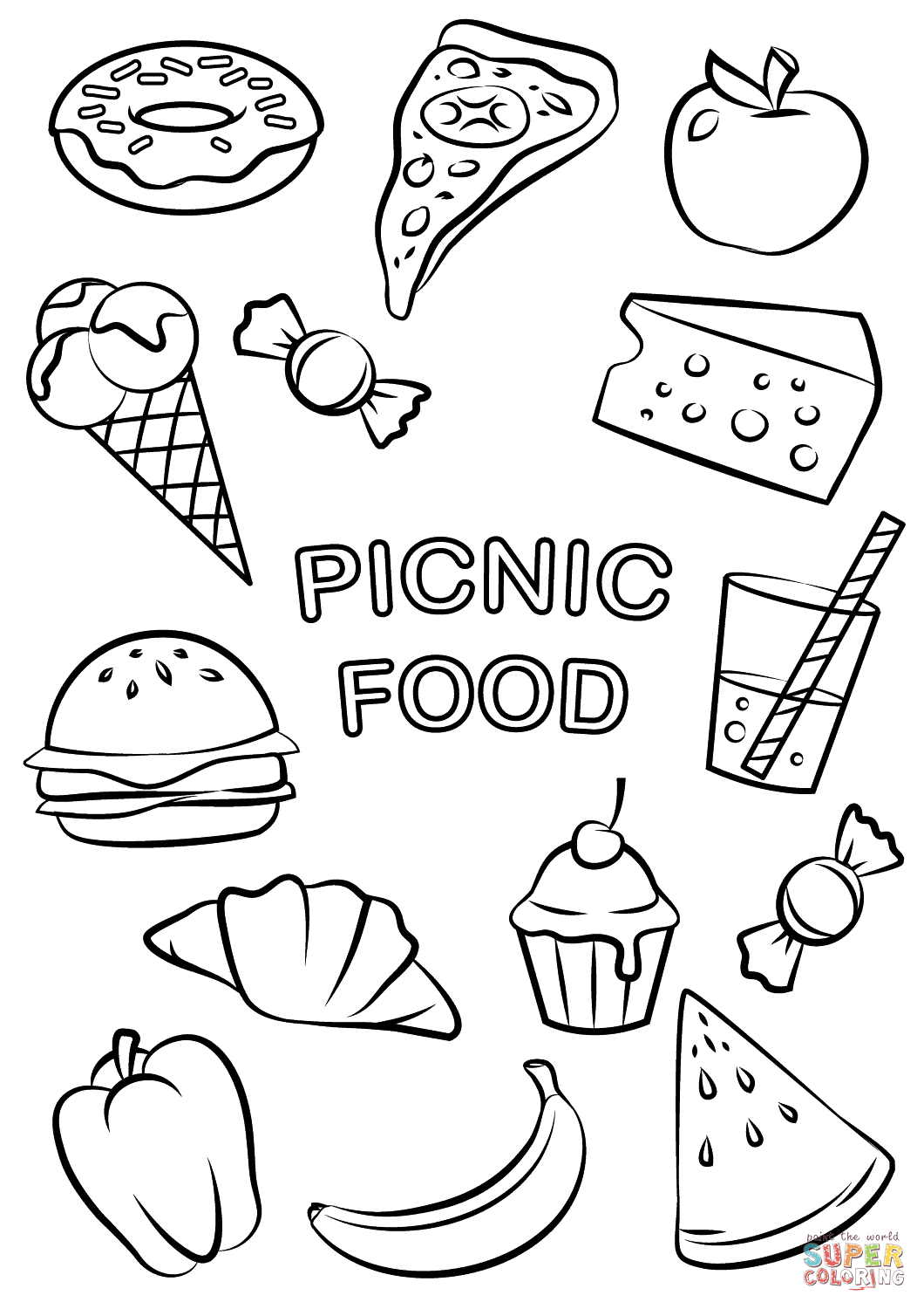 Picnic Food Coloring Page