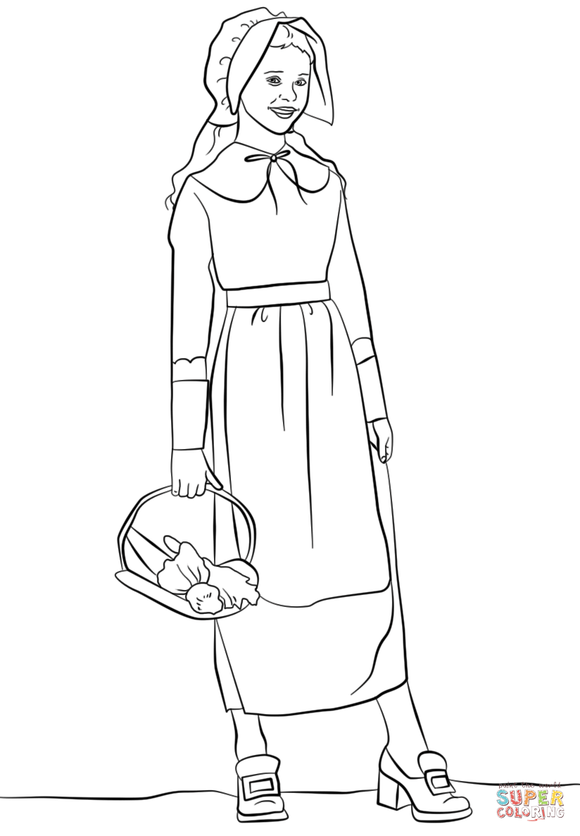 pilgrim girl coloring page free coloring pages download xsibe