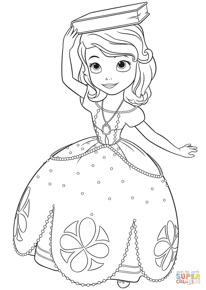 Princess Sofia With A Book On Her Head Coloring Page Free