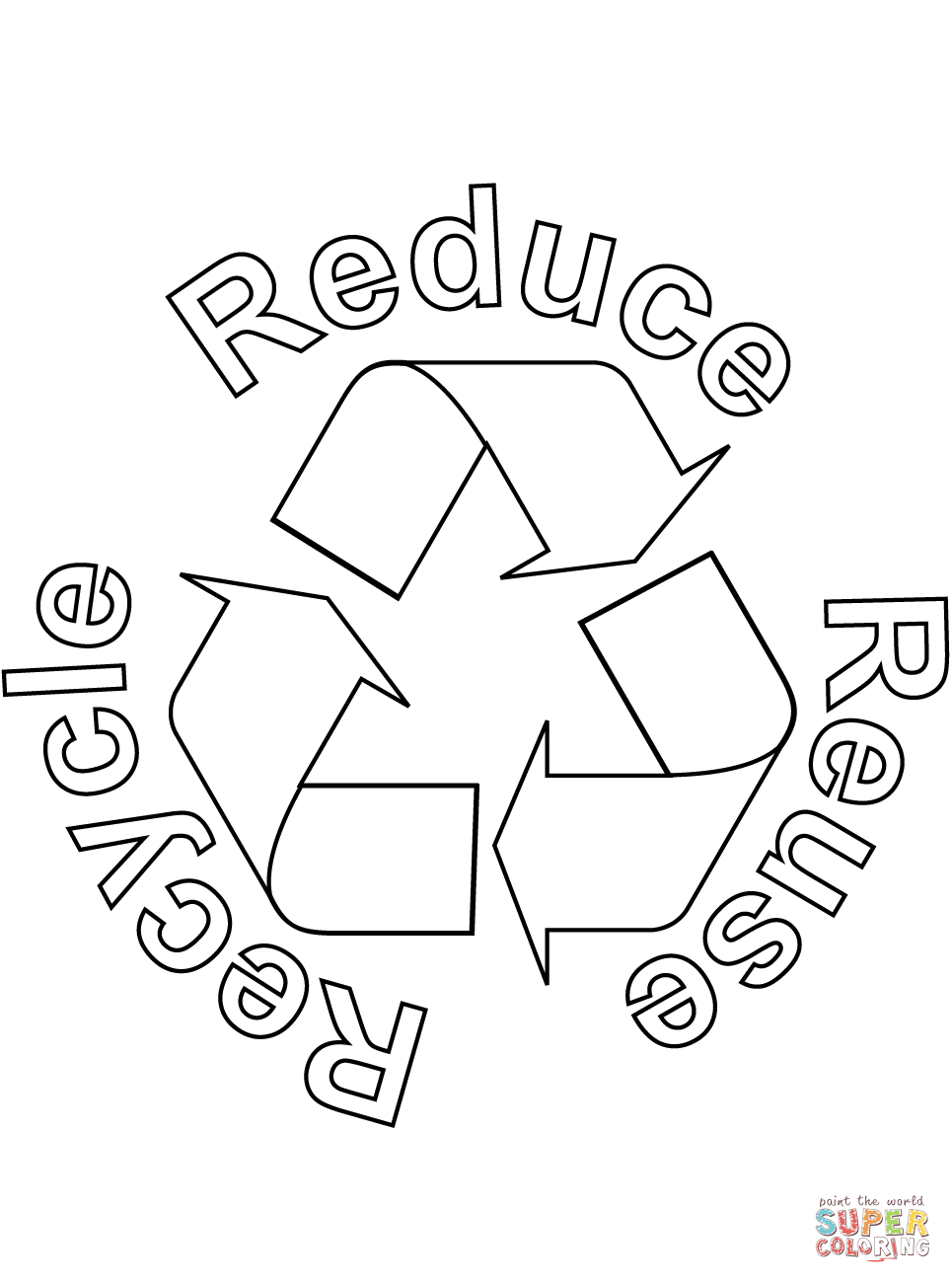 reduce reuse recycle coloring page free printable coloring pages