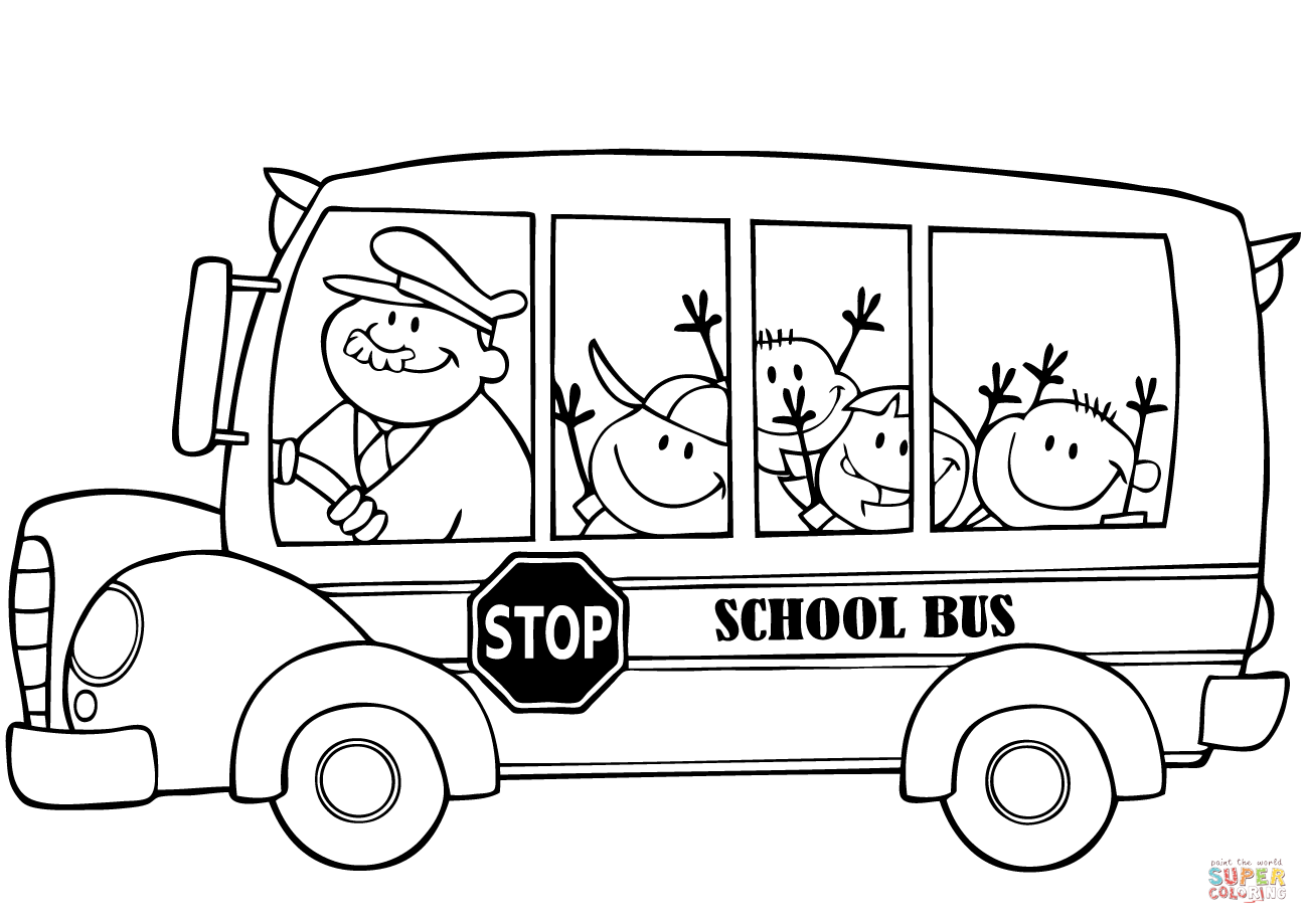 School Bus With Happy Children Coloring Page