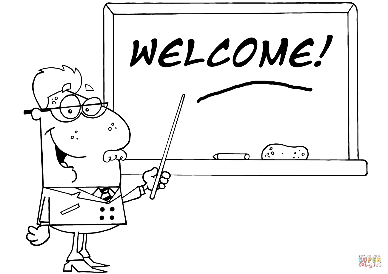 School Professor Displayed On Chalk Board Text Welcome Coloring Page
