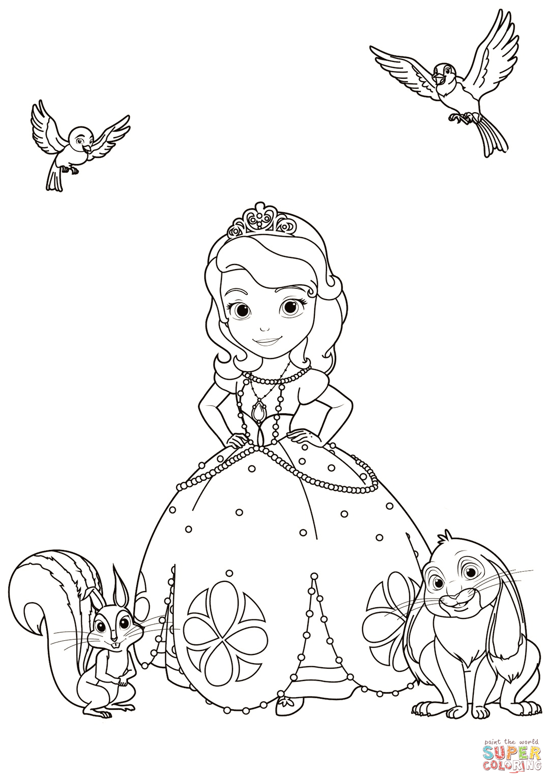 Sofia With Animals Coloring Page