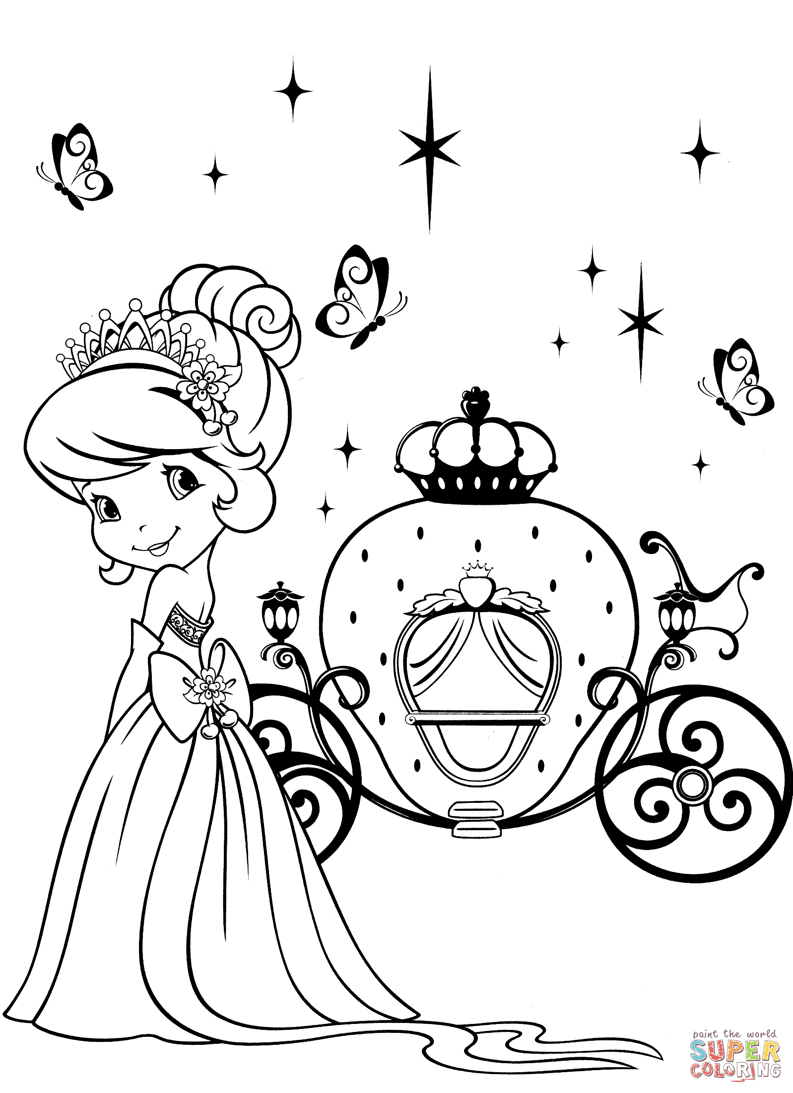 Strawberry Shortcake And Magical Carriage Coloring Page