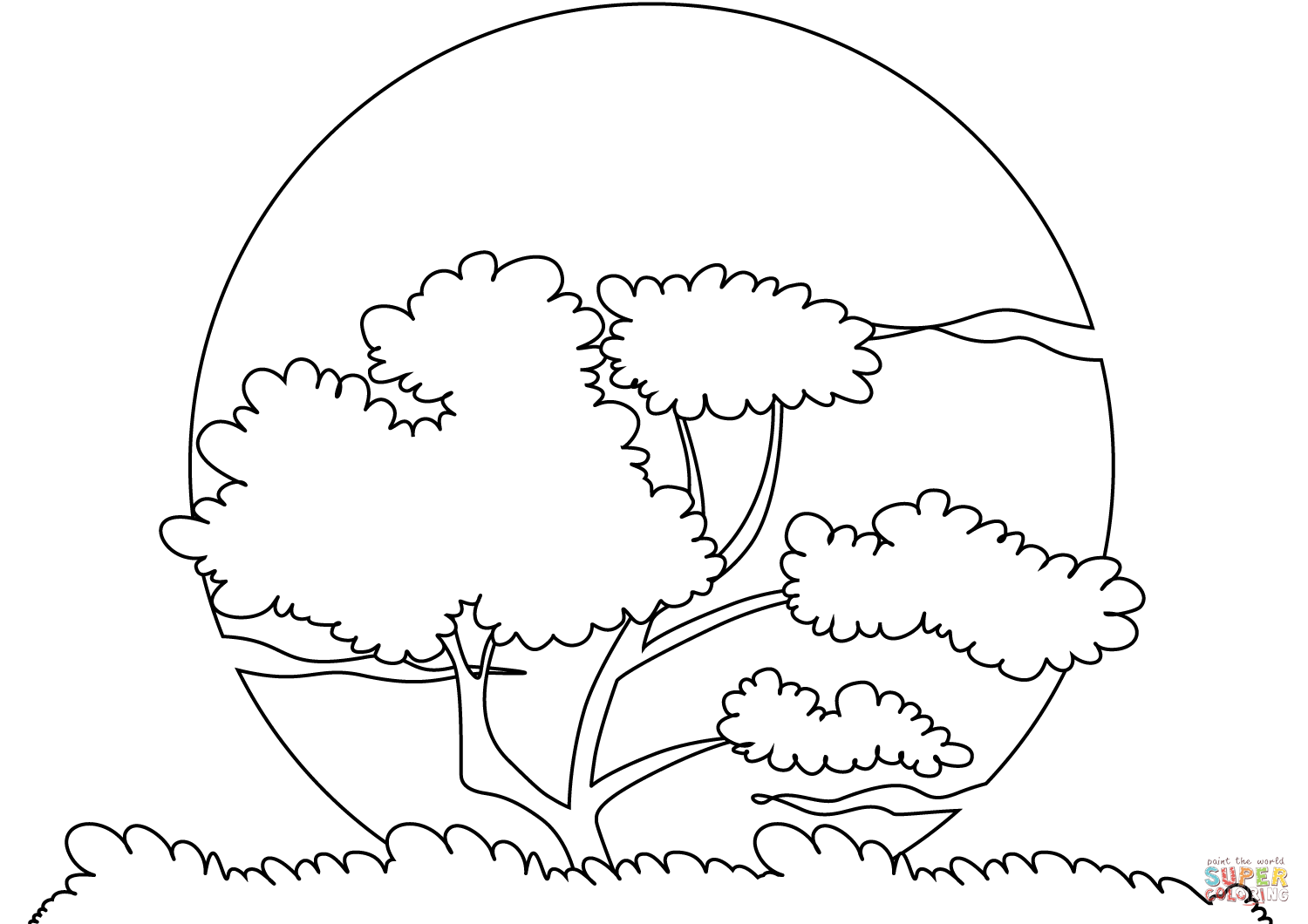 Sunset Sun Coloring Page