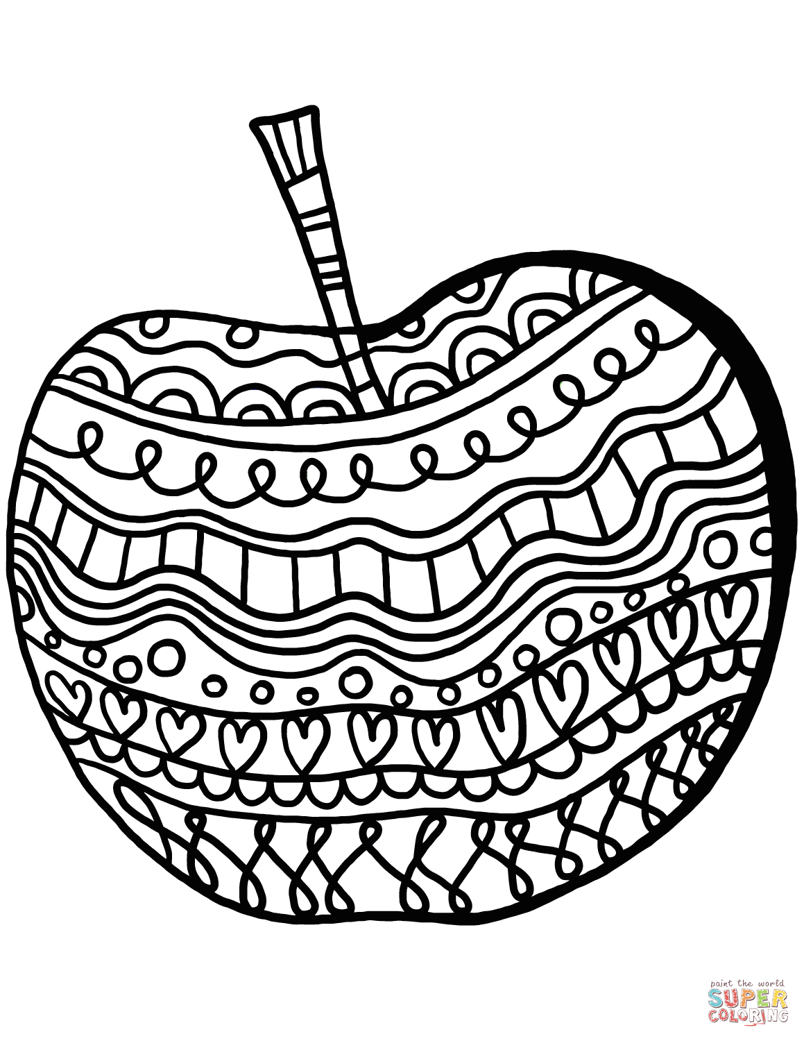 Apple With Pattern Coloring Page
