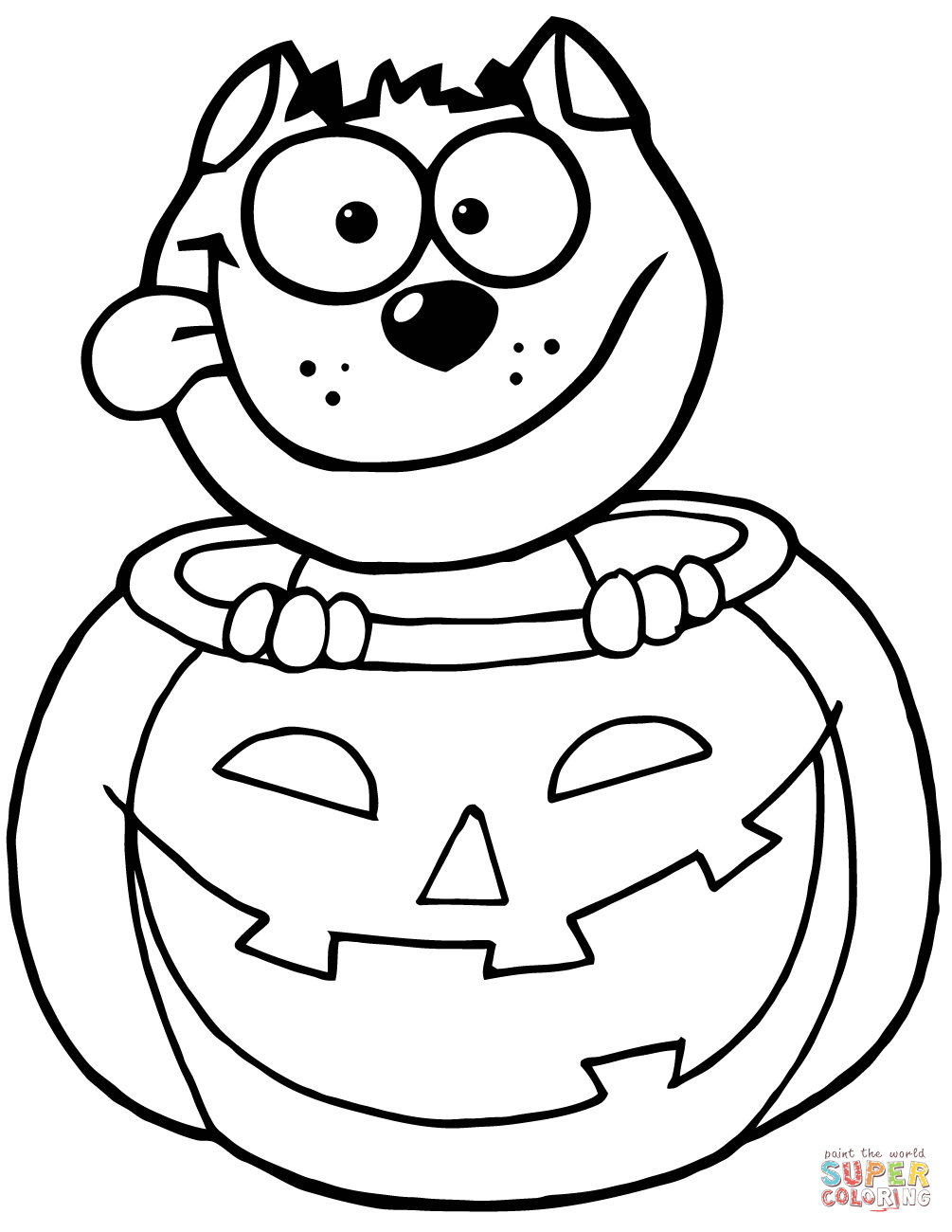 black cat sitting inside of a pumpkin coloring page free