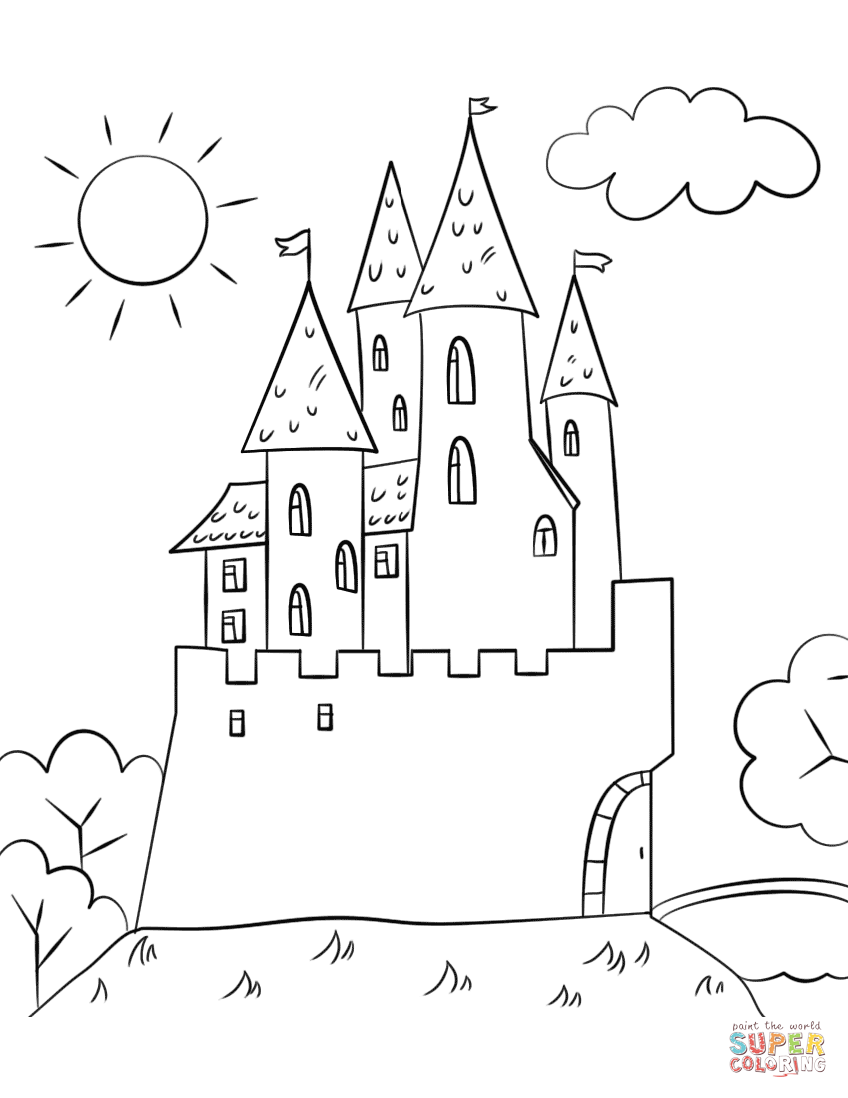 cartoon castle coloring page free printable coloring pages