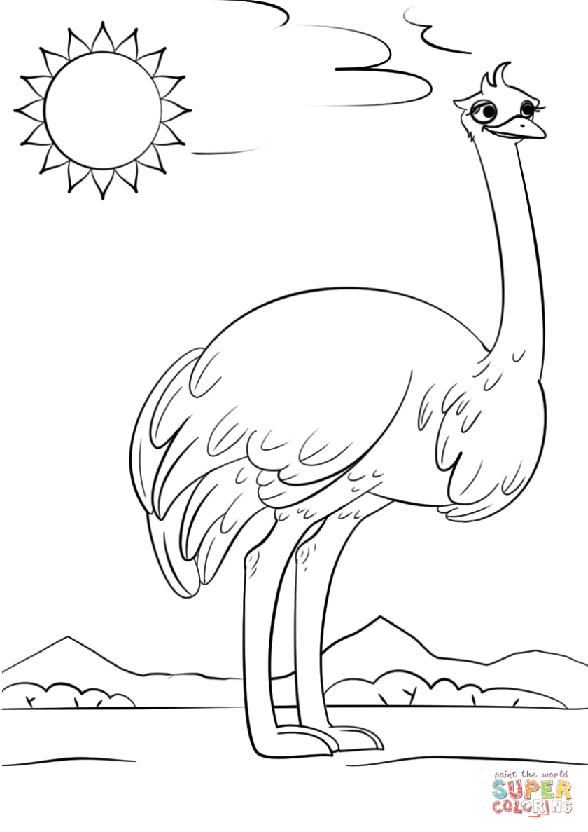 cartoon ostrich coloring page  free printable coloring pages