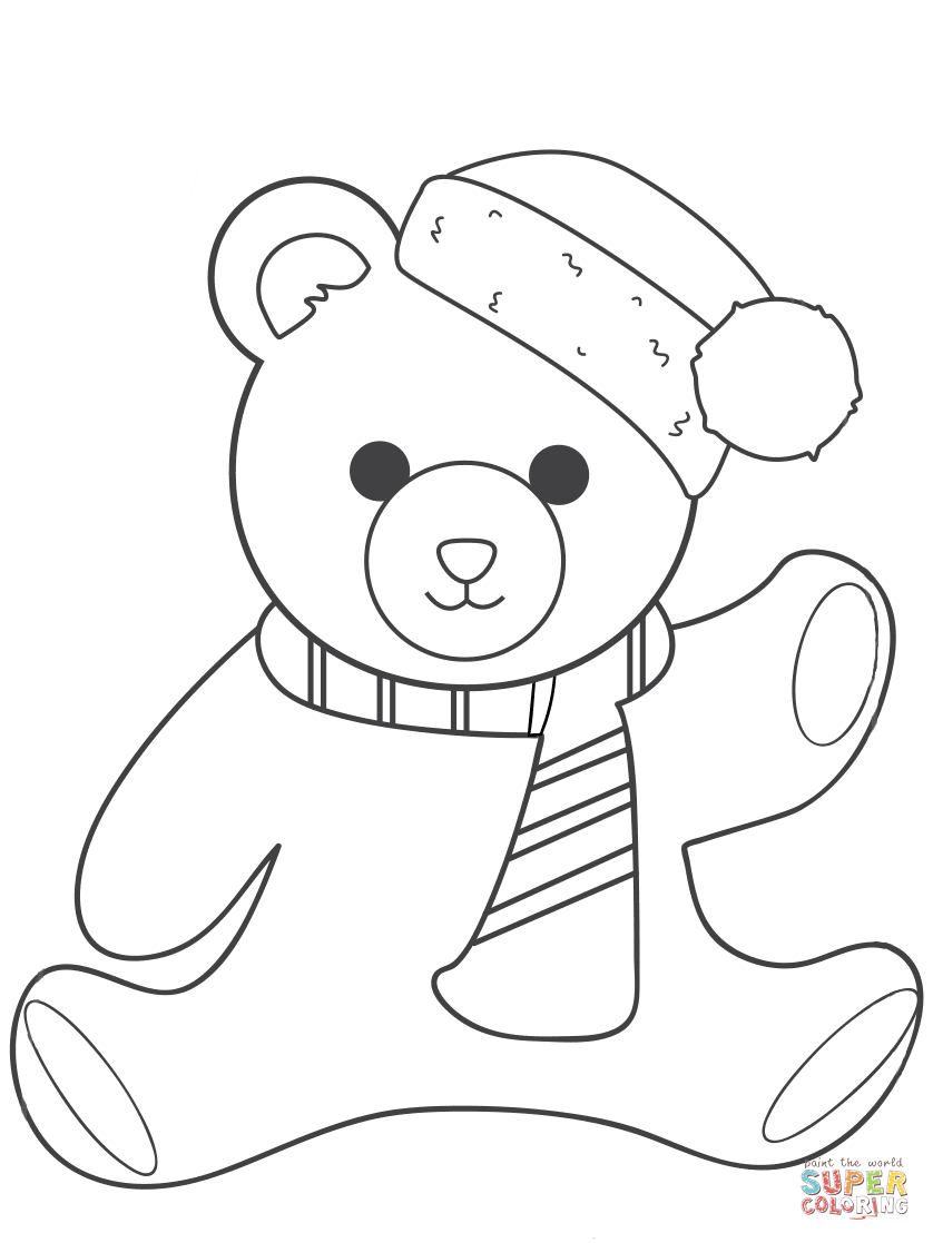 Christmas Teddy Bear Coloring Page Free Printable Coloring Pages
