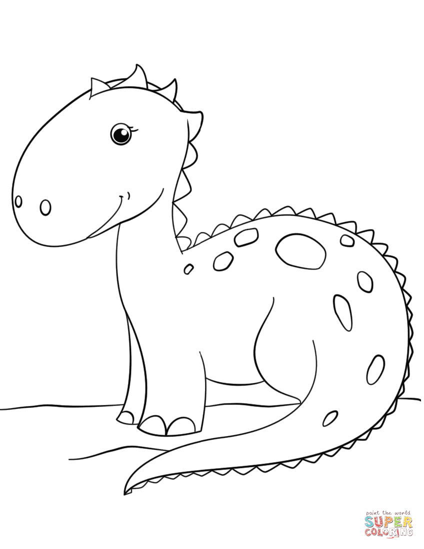 Cute Cartoon Dinosaur Coloring Page Free Printable Coloring Pages