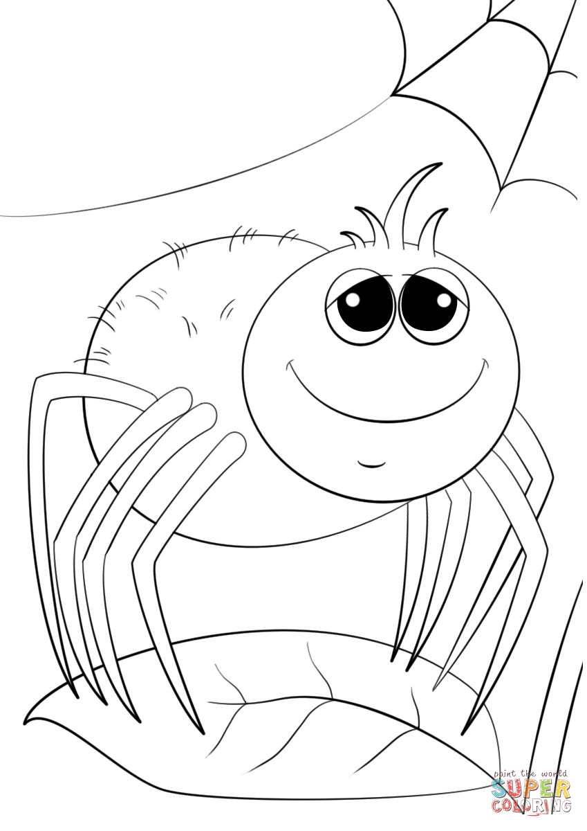 cute cartoon spider coloring page free printable coloring pages