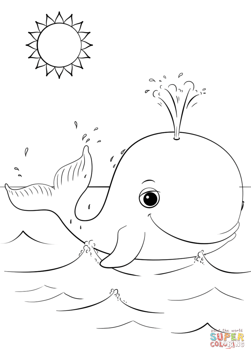 Cute Cartoon Whale Coloring Page Free Printable Coloring Pages