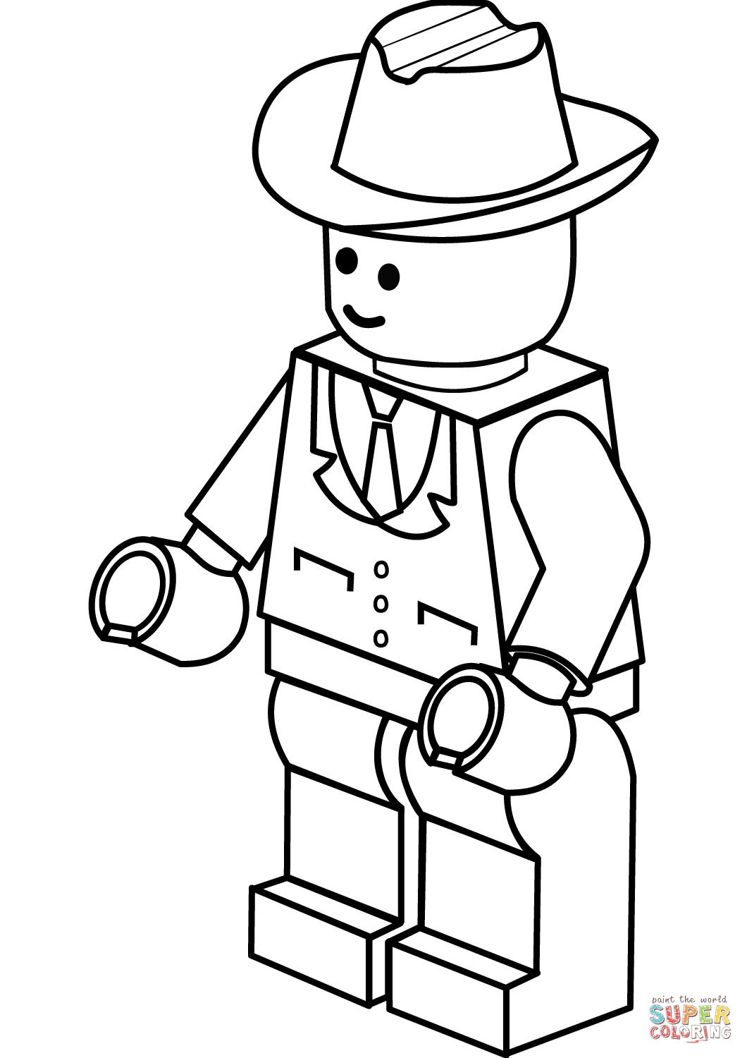Lego Man In Cowboy Hat Coloring Page
