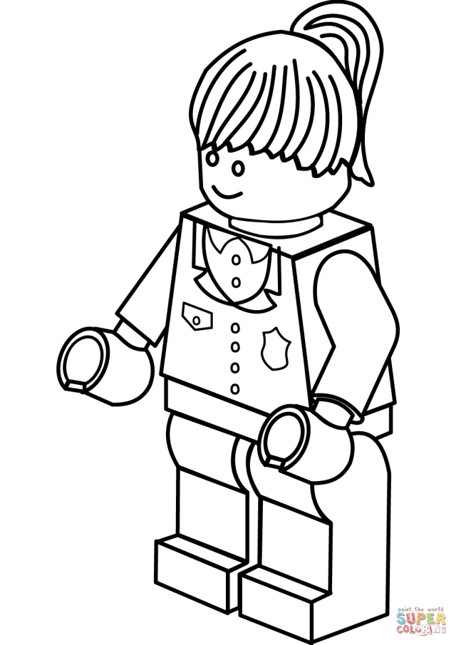 Lego Police Woman coloring page  Free Printable Coloring Pages