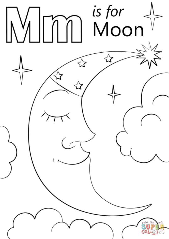 Click The Letter M Is For Moon Coloring Pages