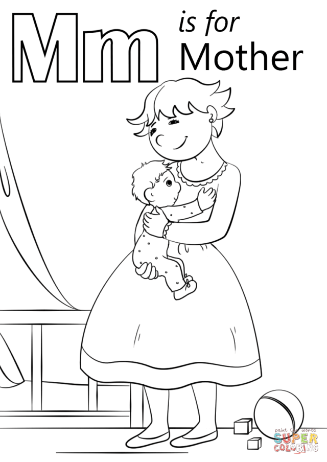 Letter M is for Mother coloring page  Free Printable Coloring Pages